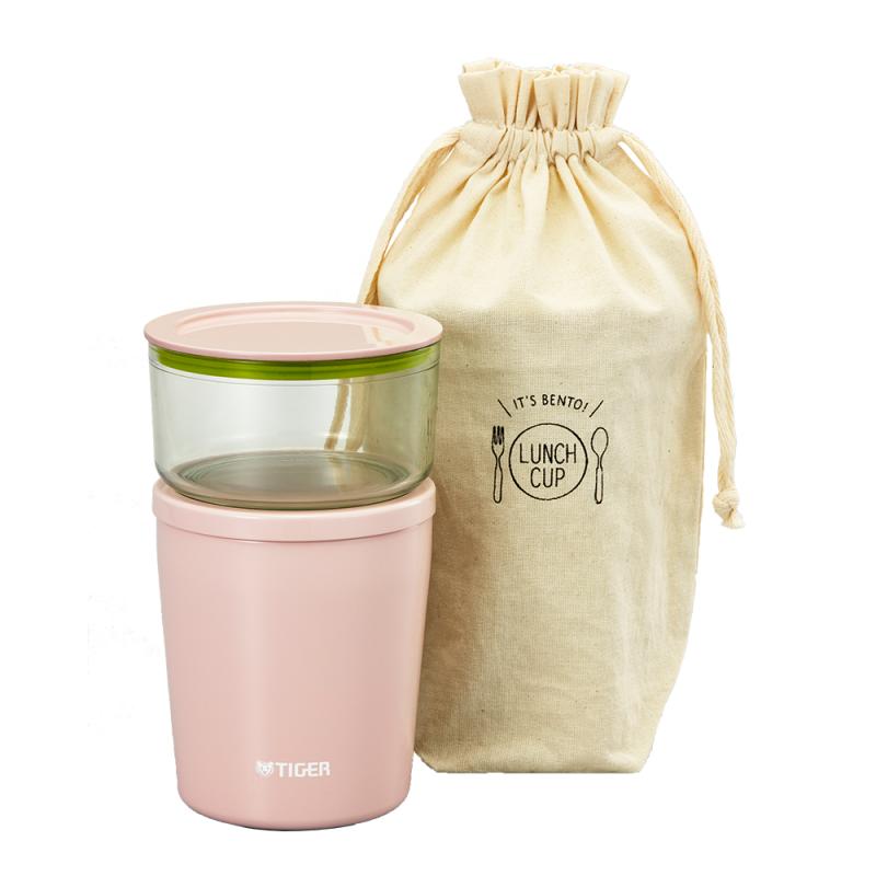 TIGER虎牌LCC粉紅色不銹鋼保溫湯杯連袋